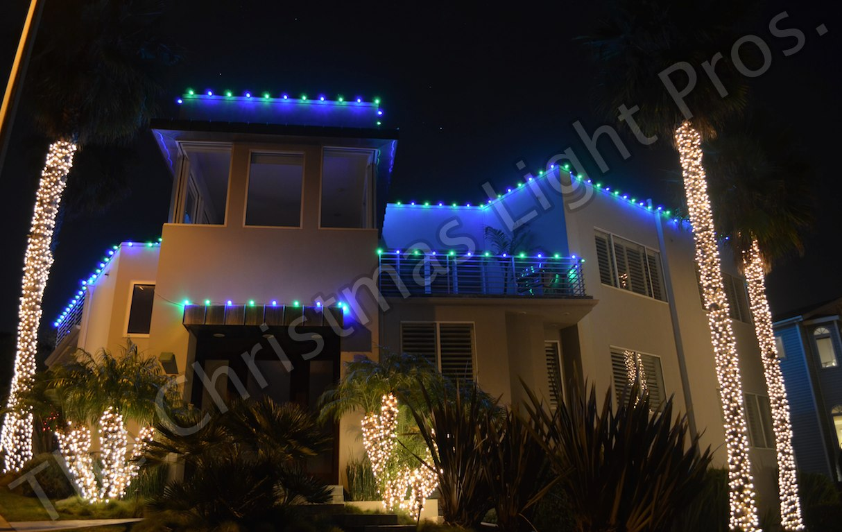 Custom - Blue & Green LED alternating every 12_ With 4_ tungstun wrapped palms (4th large palm not shown)